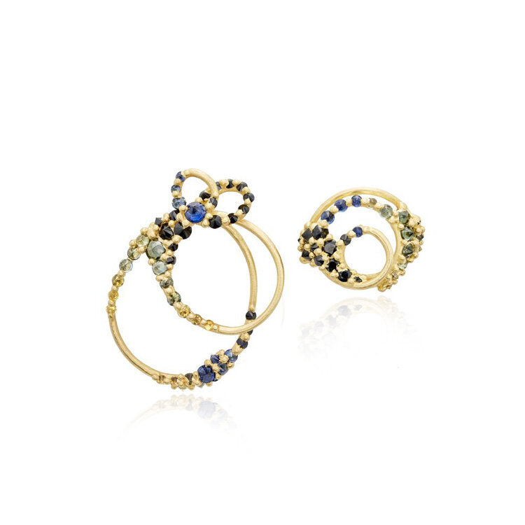 Asymmetrical Sapphire Earrings