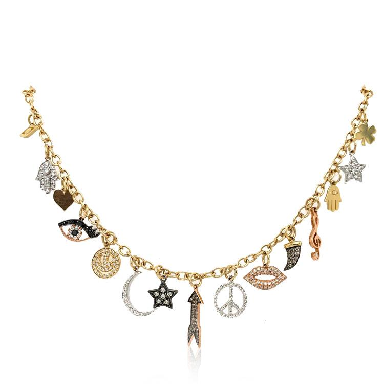 Gold and Diamond Multi-Charm Necklace
