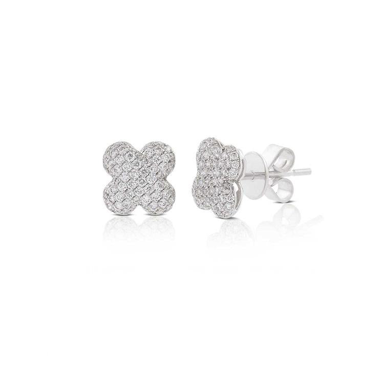 Pave Diamond Clover Stud Earrings