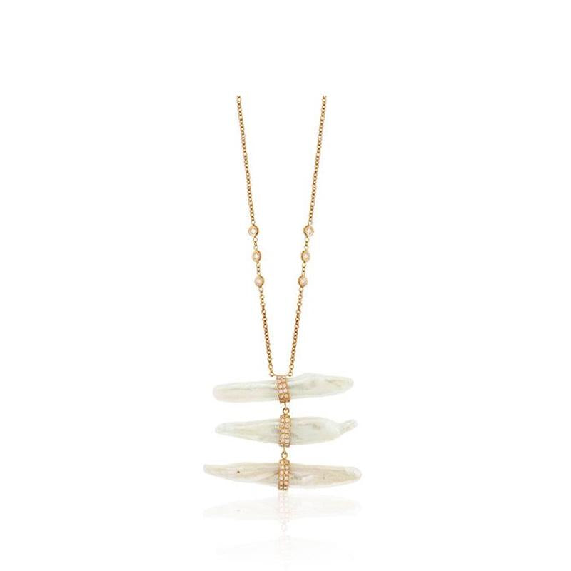 Pearl and Diamond Ladder Necklace