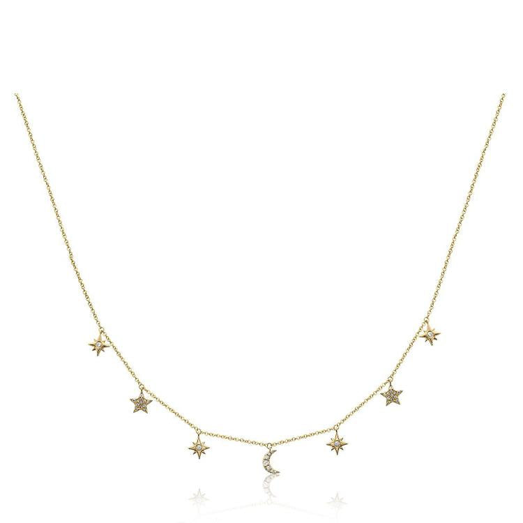 Diamond Sun and Stars Shaker Necklace