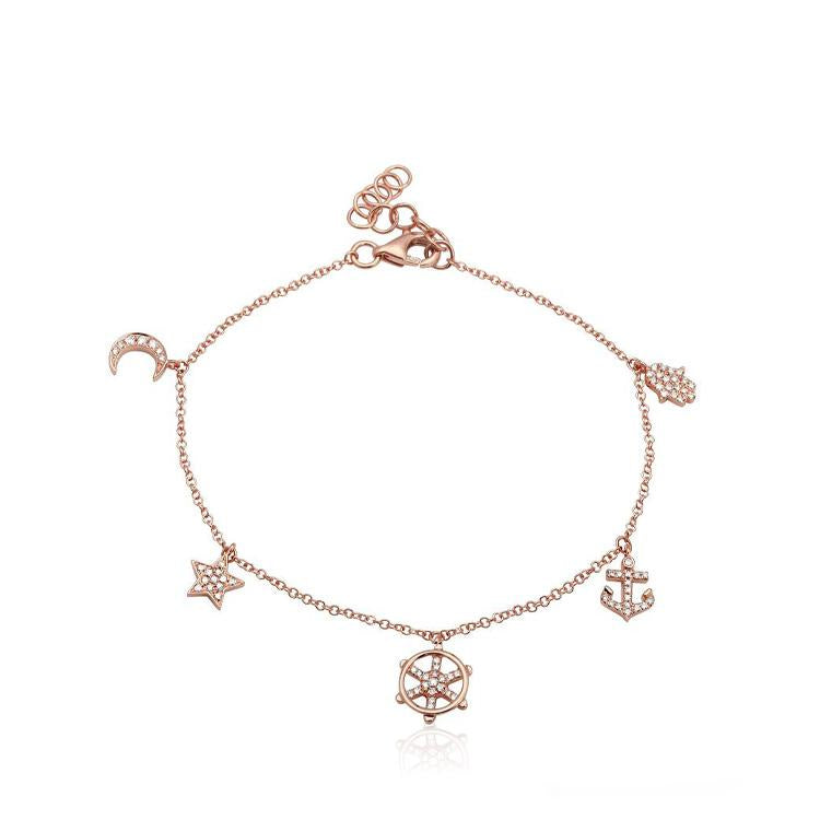 Pave Diamond Positive Directions Charm Bracelets