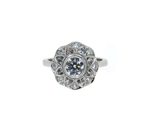 Diamond & White Sapphire Milgrain Edged Ring