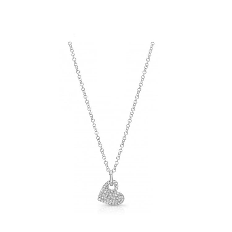 Pave Diamond Slanted Heart Necklace