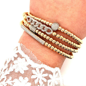 Gold Bead Interlocking Diamond Stretch Bracelet