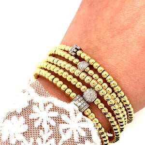Yellow Gold Bead and Diamond Rondel Stretch Bracelet