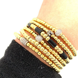 18K Yellow Gold and Black Enamel Bead Stretch Bracelet