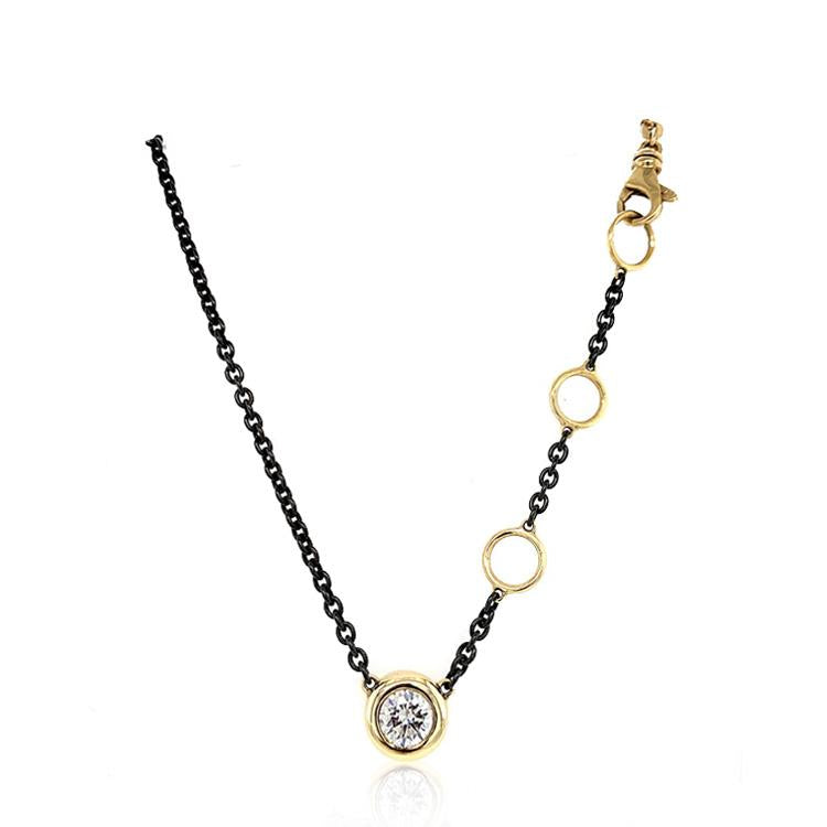 Gold Black Stainless Steel and Diamond bezel Necklace
