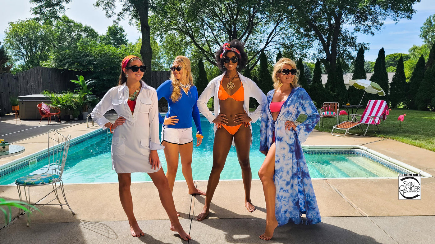 Four Women poolside. From Left Zip cover-up dress, Ocean Blue ribbed Rash Guard, Beach Shirt UPF 50+ and Tie-Dye Maxi Cover-up - Sun50