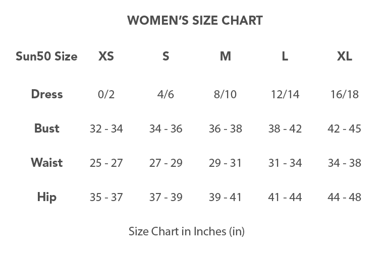 Women's Size Chart - Sun50.co