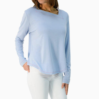 Amalfi Asymmetrical Neck Tee UPF 50+ Light Blue Heather - Sun50