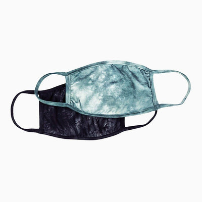 Sun Protective UV Face Mask UPF 50+ 2 Pack - Black Tie-Dye and Teal Tie-Dye - Sun50