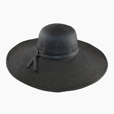 Black Wide Brim Sun Hat with a Self fabric Crown band