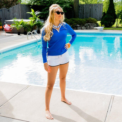 Women's Swim Board Shorts in White Worn with Ribbed Rash Guard in Ocean Blue - Sun50