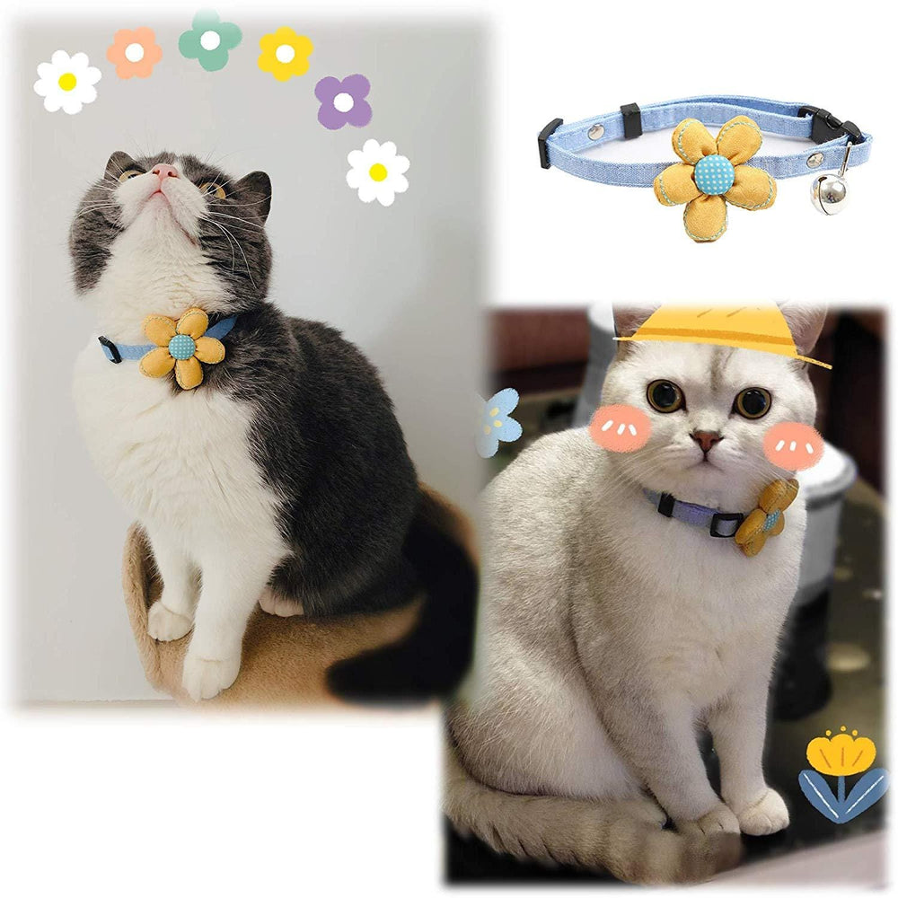 Handmade Adjustable Pet Collar with Flower & Bell - PetNow