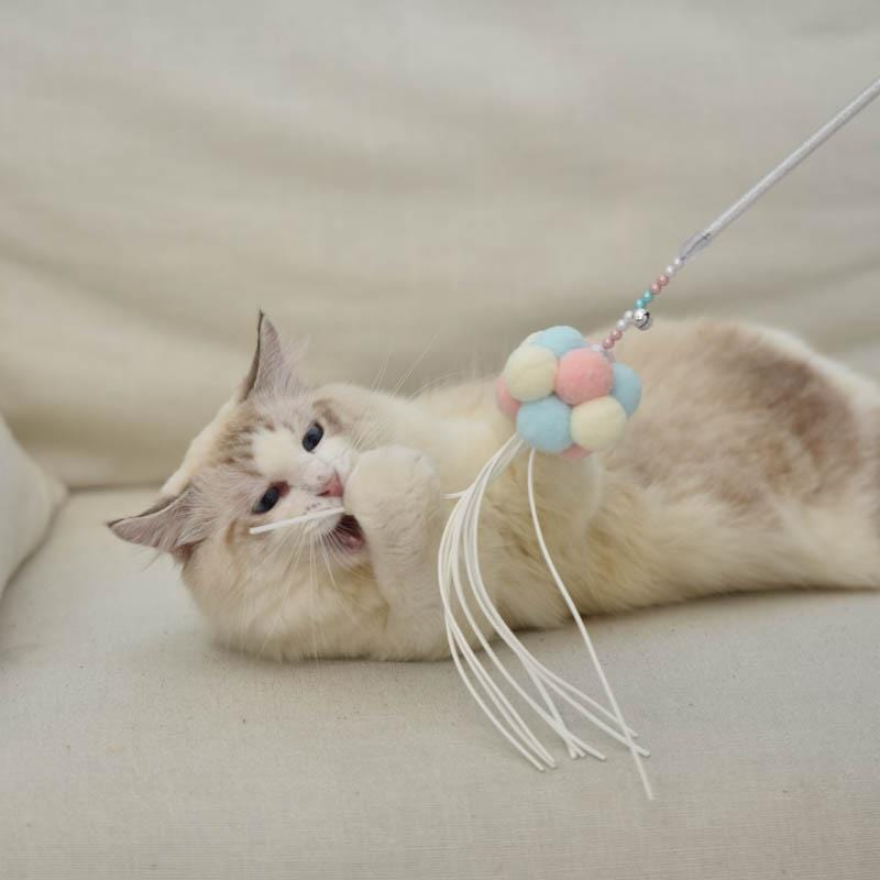 Fairy Wand Cat Teaser Toy with Bells and Pompons - PetNow