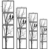 Birds on Branch 4 Pieces Metal Wall Art