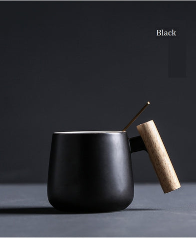Nordic Style Black White Coffee Cups with Wooden Handle and Spoon