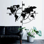 Metal World Map Compass Wall Decor
