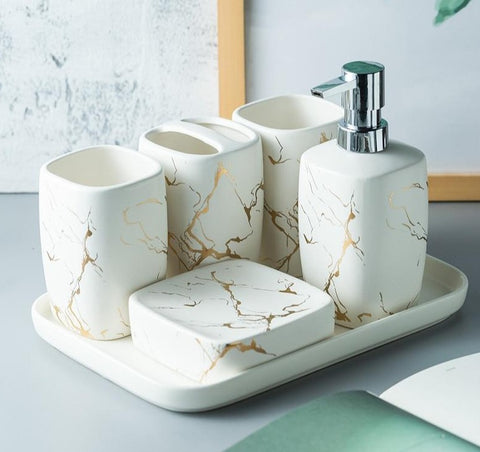 Marble Frosted Gold Ceramics Bathroom Accessories Set