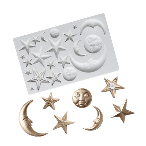 Moon and stars silicone mold