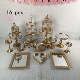 2-16pcs Gold Metal mirror Cake Stand Set