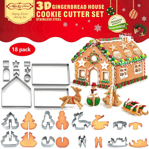 18 PCS 3D Christmas House Cookie Cutter Set
