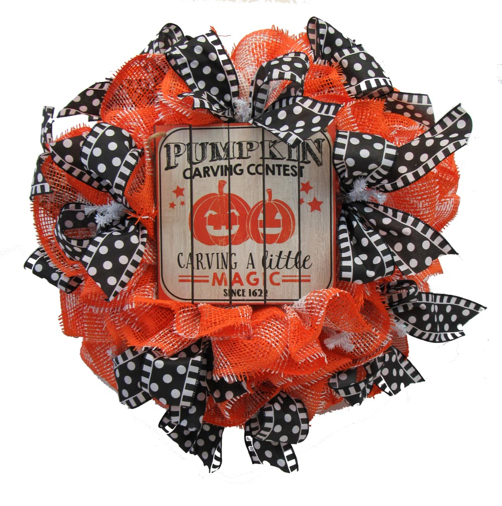 2017 Paper Mesh Halloween Wreath Tutorial