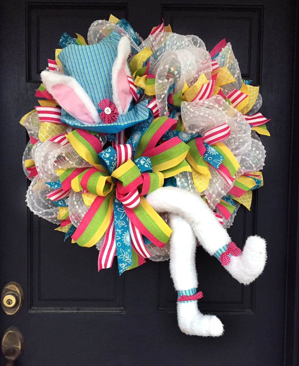Blue Striped Bunny Hat & Legs Wreath