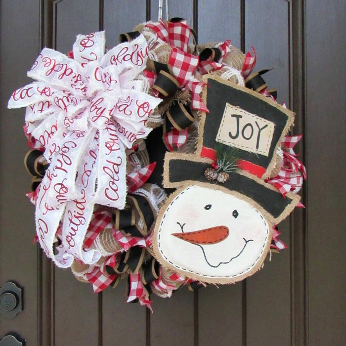 2017 Burlap Snowman Wreath Tutorial