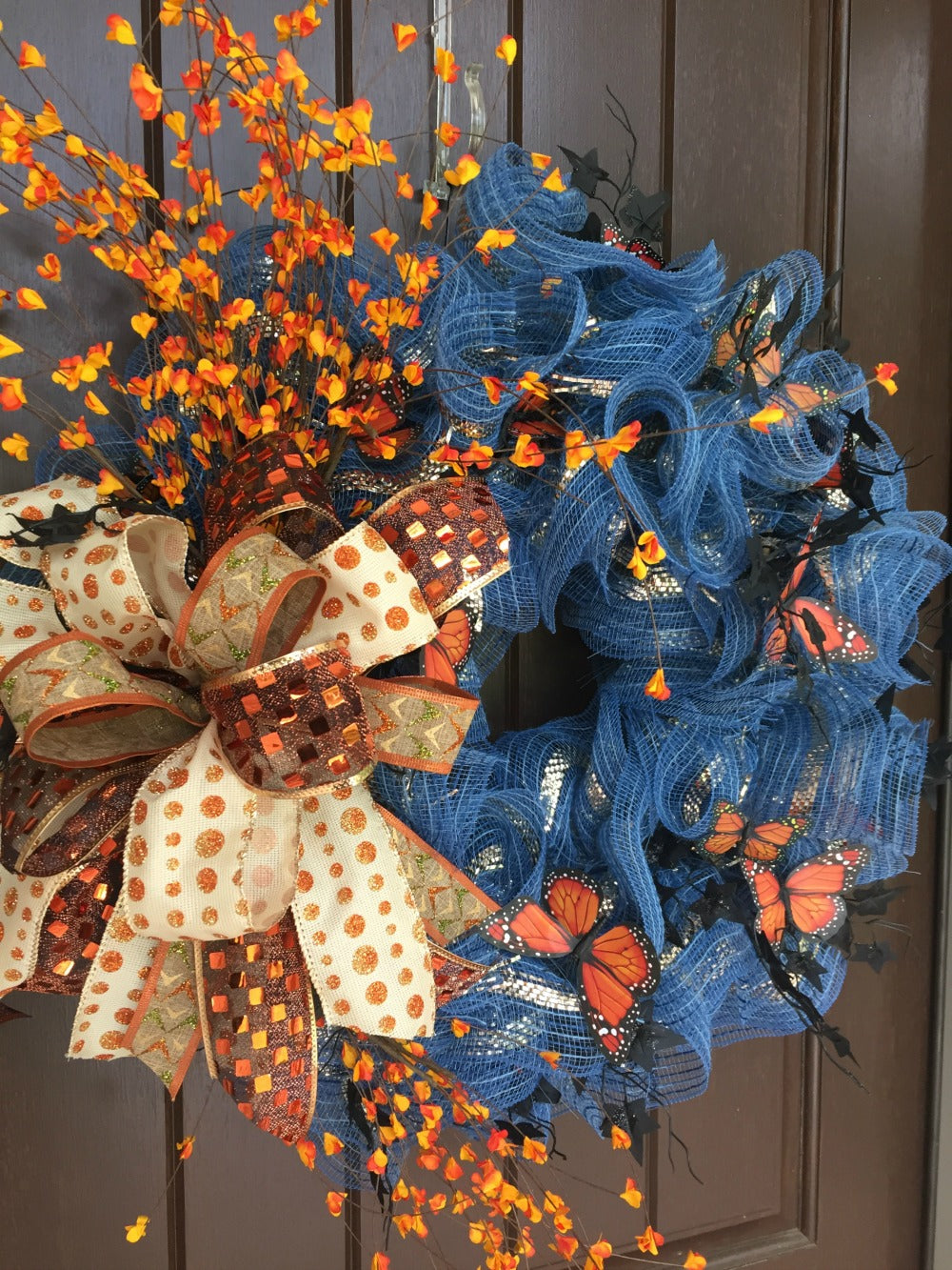 2017 Autumn Denim Wreath with Butterflies Tutorial