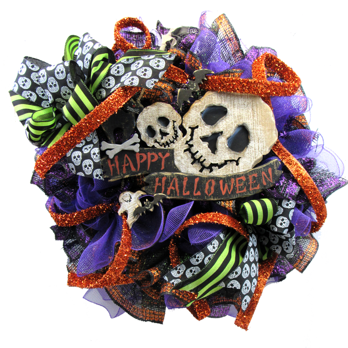 2017 Happy Halloween Skull Wreath Tutorial