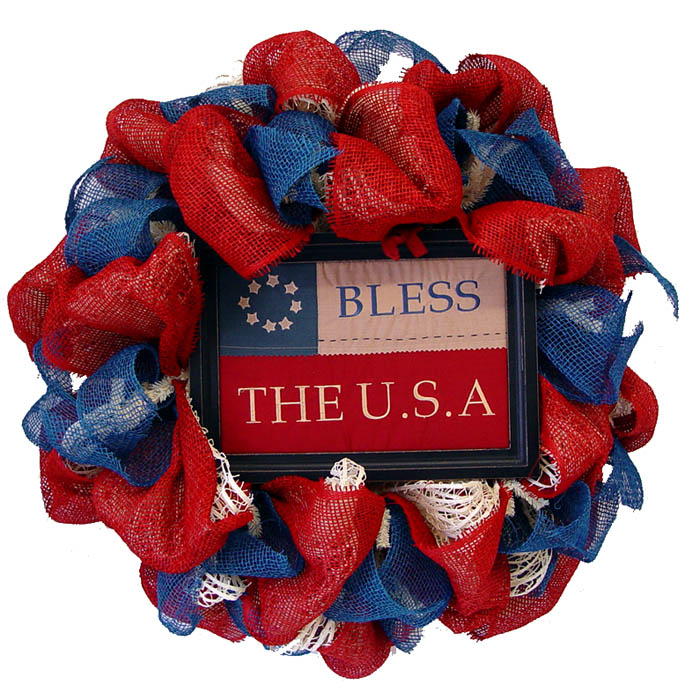 Americana Wreath Tutorial Using Cotton Windowpane Mesh, Paper Mesh and Jute Ribbon