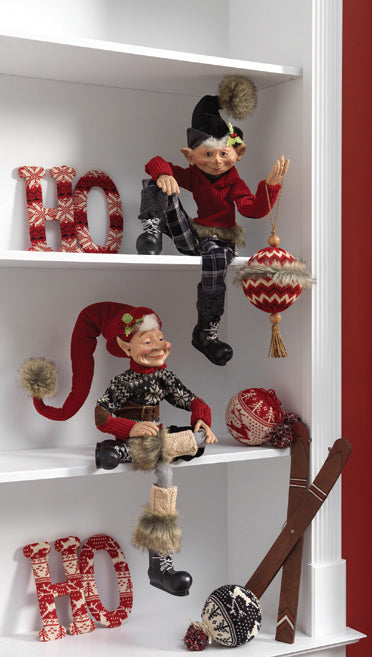 RAZ Aspen Sweater Collection Posable Elves