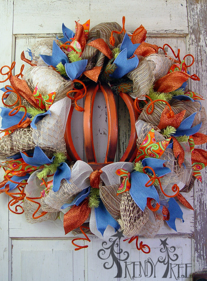 Autumn Wreath with Wooden Pumpkin Tutorial
