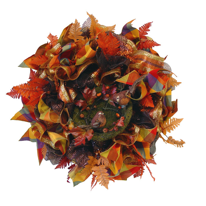 Autumn Ruffle Wreath Tutorial Using Copper Pencil Wreath, Wide Deco Poly Foils, Silk Leaves, Bird Nest