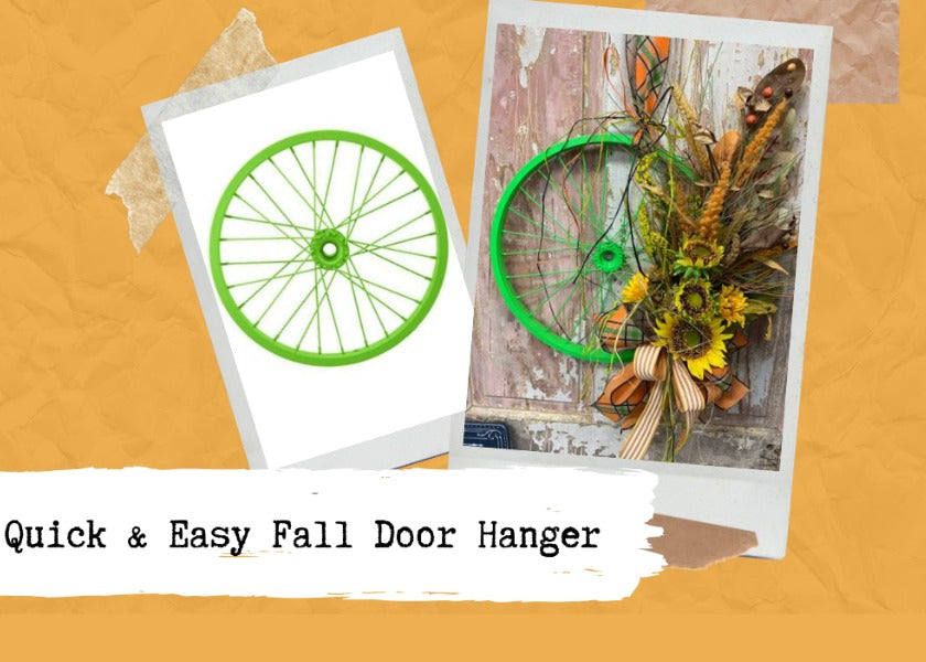 Quick & Easy Fall Bicycle Wheel Door Hanger