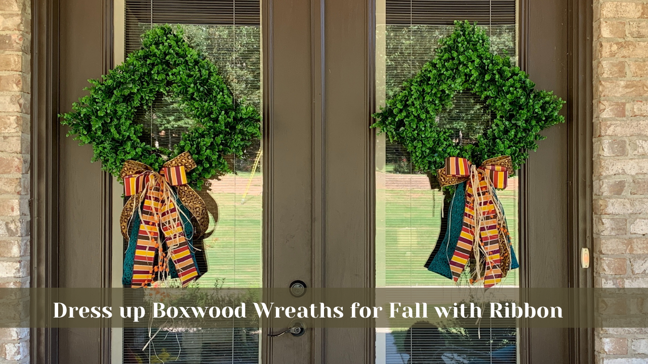 Dress up a Boxwood Wreath for Fall with a Bow Made with the EZ Bowmaker