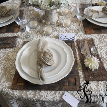 Elegant Tablescape with Natural Colors, Burlap, Lace and Deco Paper Mesh