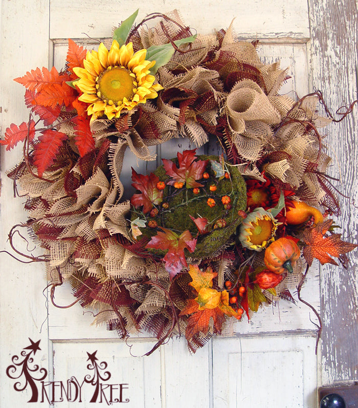 Paper Mesh Autumn Wreath Tutorial