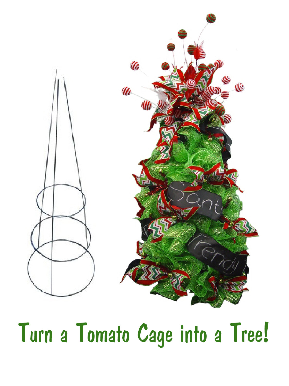 Turn a Tomato Cage into a Christmas Tree!