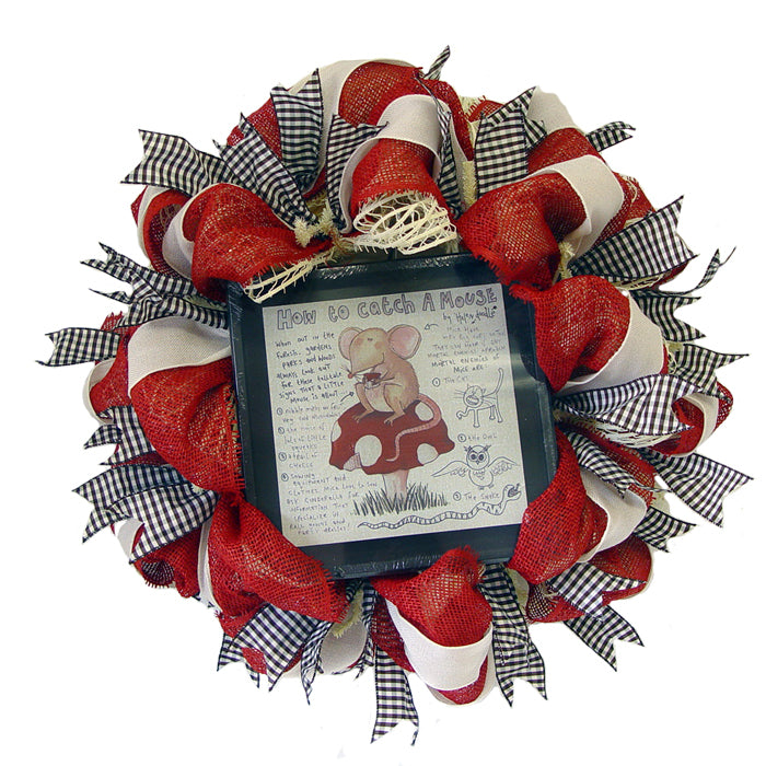 How to Catch a Mouse - Wreath Tutorial Using a Pencil Wreath, Cotton Windowpane Mesh, Paper Mesh and Ribbons