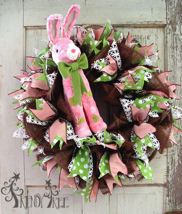 Video Tutorial Chocolate Deco Paper Mesh Wreath with RAZ Pink Bunny