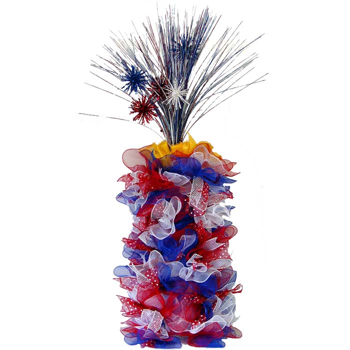 Deco Poly Mesh Firecracker Tutorial Made with new Work Creations Ribbon and Patriotic Sparkle Sprays