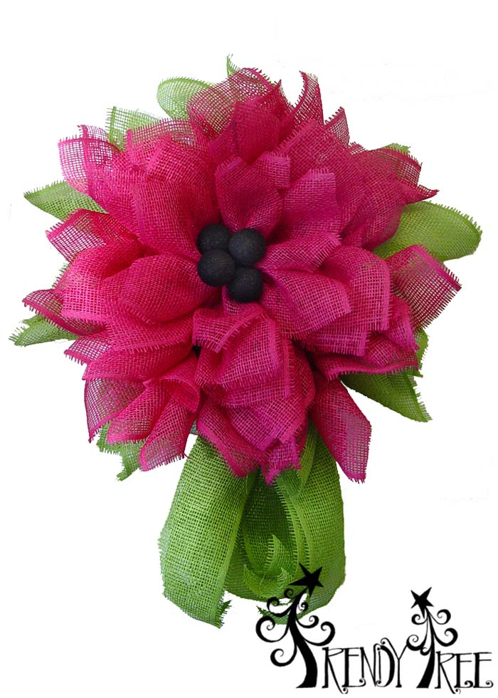 Fuchsia Deco Paper Mesh Flower Video Tutorial