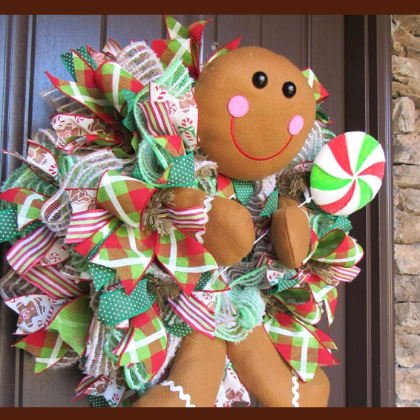 Gingerbread Boy Ruffle Wreath Tutorial