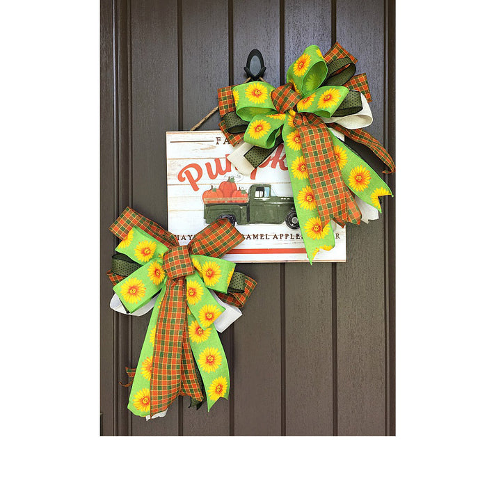 Fall Green Truck with Pumpkins Wreath or Door Hanger