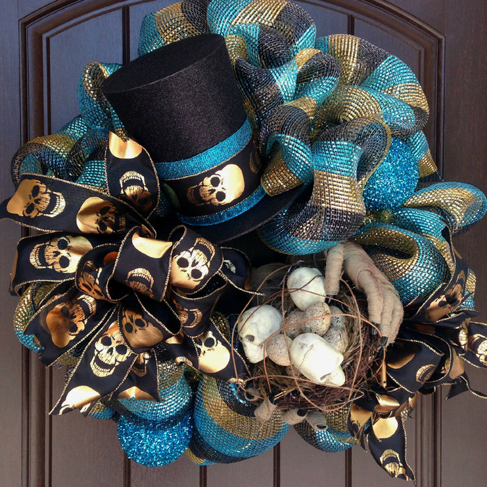 Halloween Wreath with Mummy Hands, Skull Nest & Top Hat