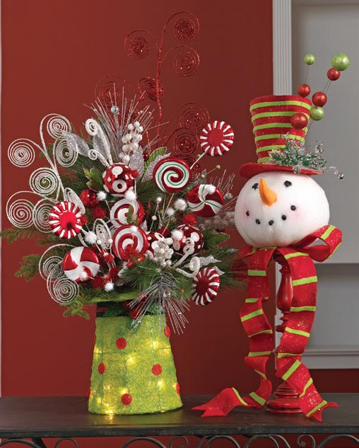 RAZ Snowman Tree Topper and Lighted Top Hat Holiday on Ice Centerpiece
