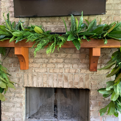 Fresh Magnolia & Cypress Christmas Garland for Outdoor Mantel